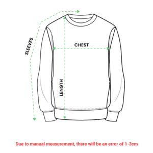all over print sweatshirt size chart