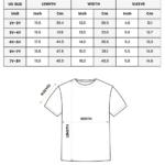 Kid T-shirt 2D size chart